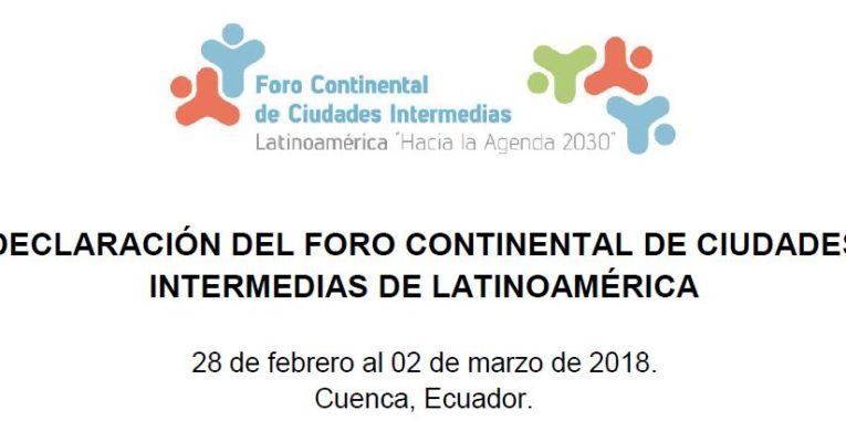 Pacto Global de Prefeitos está na Declaração de Cuenca