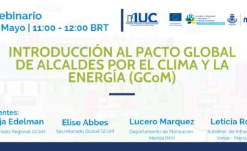 Dan comienzo en este mes de mayo los webinarios del Pacto Global de Alcaldes por el Clima y la Energía (GCoM)