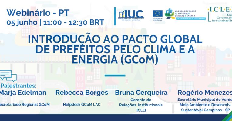 Lançamento da Série de Webinários sobre o Pacto Global de Prefeitos pelo Clima e a Energia (GCoM) em Português